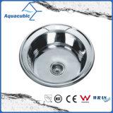 Aço inoxidável com dissipador da bacia da cozinha da placa de drenagem o único (ACS7755)