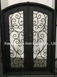 Vidro temperado de luxo de ferro da Porta Frontal de Metal Porta de Entrada
