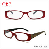 Flower Pattern Paper Transfer (WRP409094)를 가진 숙녀 Plastic Reading Glasses