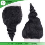 Brilhante e sedoso Virgem Negra Natural Brasileiro Encerramento de cabelo humano