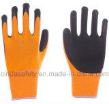Перчатки работы техники безопасности на производстве латекса покрынные пеной трудные защитные