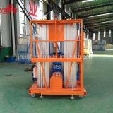 plataforma doble móvil hidráulica de la elevación del trabajo aéreo de la aleación de aluminio del mástil de los 10m 200kg