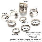 9PCS de uitstekende Zilveren Ring van de Kleur plaatst de Antieke Ring van de Vinger van MIDI