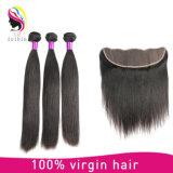 Закрытие 100% прямых волос Frontals 13*4 шнурка человеческих волос Remy девственницы