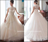 레이스 코르셋 결혼 예복 Tulle 높 목 신부 웨딩 드레스 Wd1535