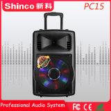 Shinco populares 15 Polegadas Bluetooth portátil de plástico DJ altifalante com bateria