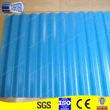 青い上塗を施してある電流を通された鋼鉄波形の屋根シート