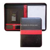 Simple Design PU Leather Pad Folio avec calculatrice
