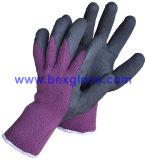 Связанные вкладыш 7 датчиков акриловый, экстренное толщиное Терри & почистили щеткой, покрытие латекса, полное покрытие большого пальца руки, перчатки безопасности отделки пены