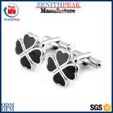 Baratos personalizados de trébol de cuatro hojas de metal esmaltado Botón gemelos
