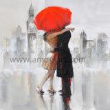 キャンバスの通り印象的な図絵画の恋人