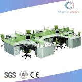 Estación de trabajo de oficina de la cruz de la oficina en forma de L con madera Tabla de partición (CAS-W31430)