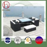 9PCS余暇の藤のテラスの庭の屋外のダイニングテーブルおよび椅子