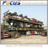Eje 3 de 40 pies de contenedor de transporte de superficie plana de remolque semi
