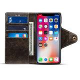 iPhone XのためのレトロボタンPUの携帯電話の札入れの箱