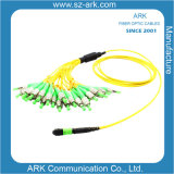 MPO Cable de conexión de fibra óptica para la transmisión de alta densidad