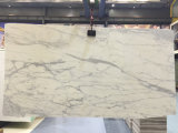 Poli blanc Calcutta de dalles de marbre blanc