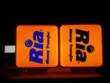 Corrente Lojas de varejo Lados duplos Sinal de LED Acrílico Plástico Blister Caixa de luz de vácuo