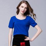 Planície mulheres T-shirt de algodão mangas curtas, grossista de fábrica OEM