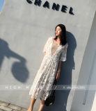 숙녀 바닷가 Boho 열려있는 카디건 느슨한 긴 레이스 로즈 꽃 맥시 상단 복장