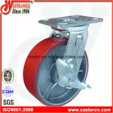 6 Zoll rote PU-Schwenker-Fußrolle mit Bremse