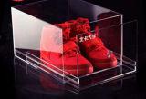 Boîte de présentation acrylique claire de bonne qualité faite sur commande de chaussure d'avant de baisse