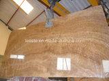 磨かれた自然な大理石の石、黄色い木の大理石のタイル