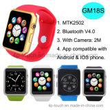 Téléphone intelligent coloré de montre de Bluetooth pour l'androïde et l'IOS (GM18S)