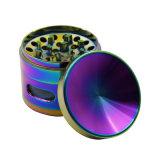 4capas 63mm de aleación de zinc colorido Molinillo hierbas cóncavo con la ventana lateral para tubo de cigarrillos