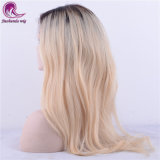 En línea recta de encaje completo largo pelo rubio peluca de cabello virgen India