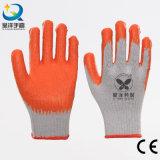 la palma anaranjada del látex del shell de 10g T/C cubrió los guantes del trabajo de la seguridad del algodón (L005)