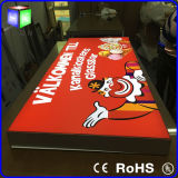Double Side Fabric LED Light Box Publicidade com moldura de alumínio LED Backlit Sign