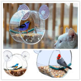 Alimentador redondo de acrílico claro plástico de encargo del pájaro de la ventana