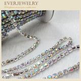 Catena d'ottone della tazza del Rhinestone di cristallo del grado del AAA in rullo per il vestito, pattini, collana, braccialetto