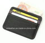 Estojo de carteira de cartão de crédito de couro genuíno personalizado gravado personalizado