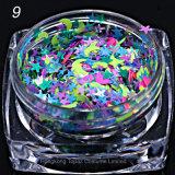 De nieuwe Aankomst mengde de Kleurrijke Hexagon Spijker van de Vorm schittert de Kunst van de Spijker schittert 3D Schoonheid Pools van het Pigment (NR-04)