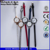 Relógio de pulso ocasional das senhoras de quartzo da cinta de couro da forma do ODM (Wy-074A)