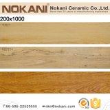 居間の床のための200X1000の黄色かベージュカラー木のタイルの磁器の木製のタイル
