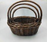 손잡이 (BC-WB09)를 가진 주문을 받아서 만들어진 자연적인 Handmade 버드나무 바구니