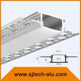 Profilo di alluminio messo del LED con la flangia per la parete asciutta con i fori sulla flangia
