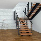 Escaleras de vidrio de doble haz con la banda de rodadura de madera