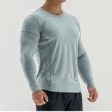 Normaler preiswerter Großhandelsshirt-Sport-Mann-Muskel-dünner Sitz-langes Hülsen-T-Shirt