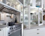 Gabinete de cozinha da madeira contínua do estilo do abanador de Ritz