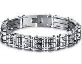 Armbanden van de Knoop van de Armbanden van de Fietser van de Motor van de Keten van de Juwelen van het Roestvrij staal van de Armbanden van het Kristal van de Motorfiets van Bling de Zilveren Gevoelige Speciale