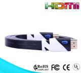 Câble bleu 1.4 de la vitesse plaqué par or plat HDMI