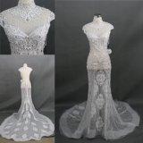 Trem longo de cristal do vestido de casamento da sereia completa elevada feita sob encomenda do colar
