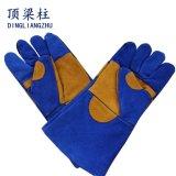 補強されたやしを搭載する青い革溶接手袋