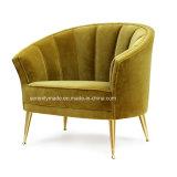 호화스러운 우단 금 다리를 가진 둥근 소파 의자