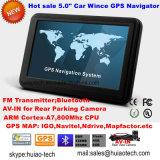 """Inicio Venta Alquiler de carretilla de 5.0"""" de navegación GPS marino con WINCE 6.0 Sistema de navegación GPS de seguimiento, FM, Bluetooth, cámara trasera AV, navegador GPS de navegación por satélite, TV"""