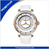 Elegante Edelstahl-Quarz-Armbanduhr-Sport-Form-Dame Uhr